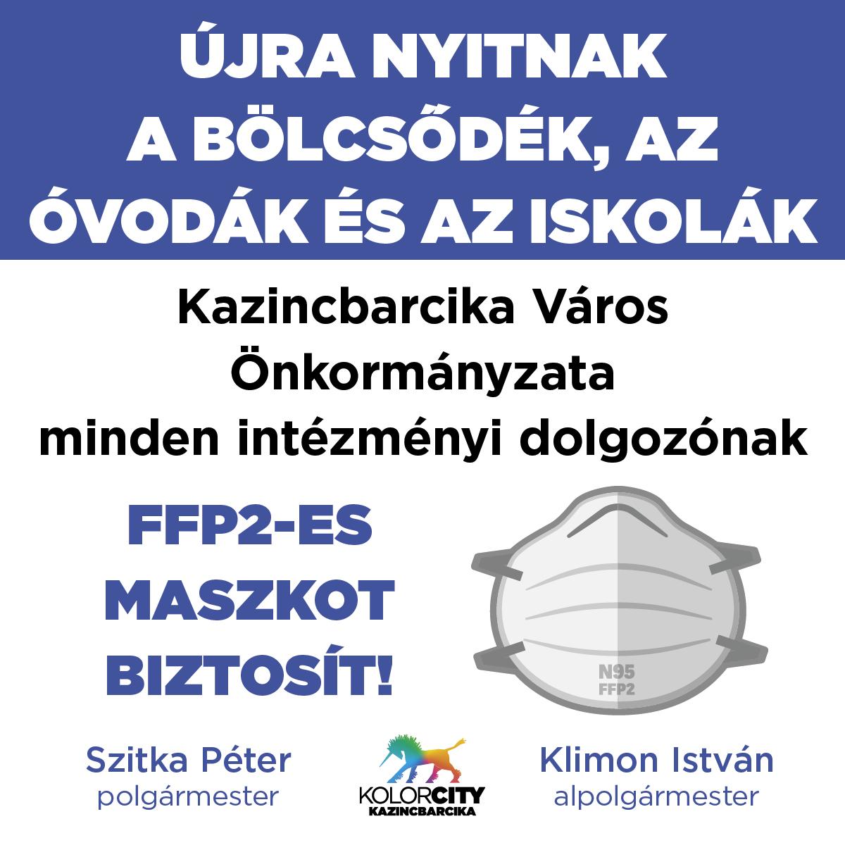 https://kolorline.hu/Újra nyitnak a bölcsődék, az óvodák és az iskolák – Kazincbarcika Város Önkormányzata minden intézményi dolgozónak FFP2-es maszkot biztosít!