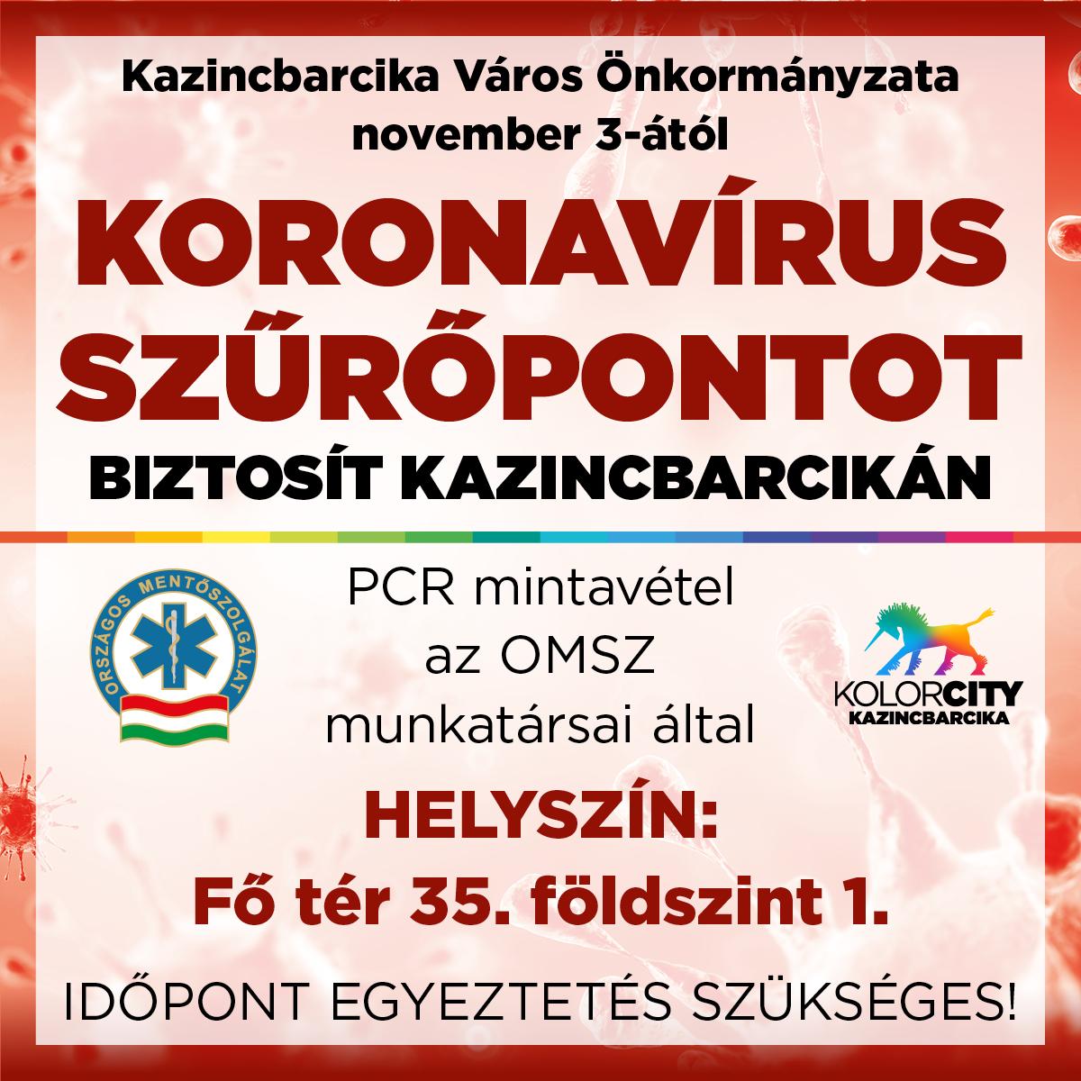 https://kolorline.hu/Kazincbarcika Város Önkormányzata november 3-ától koronavírus szűrőpontot biztosít Kazincbarcikán