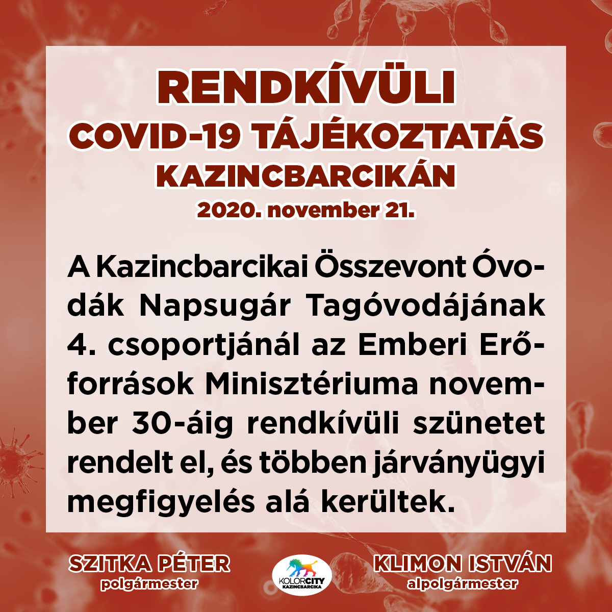 https://kolorline.hu/Rendkívüli tájékoztatás – 2020. november 21.