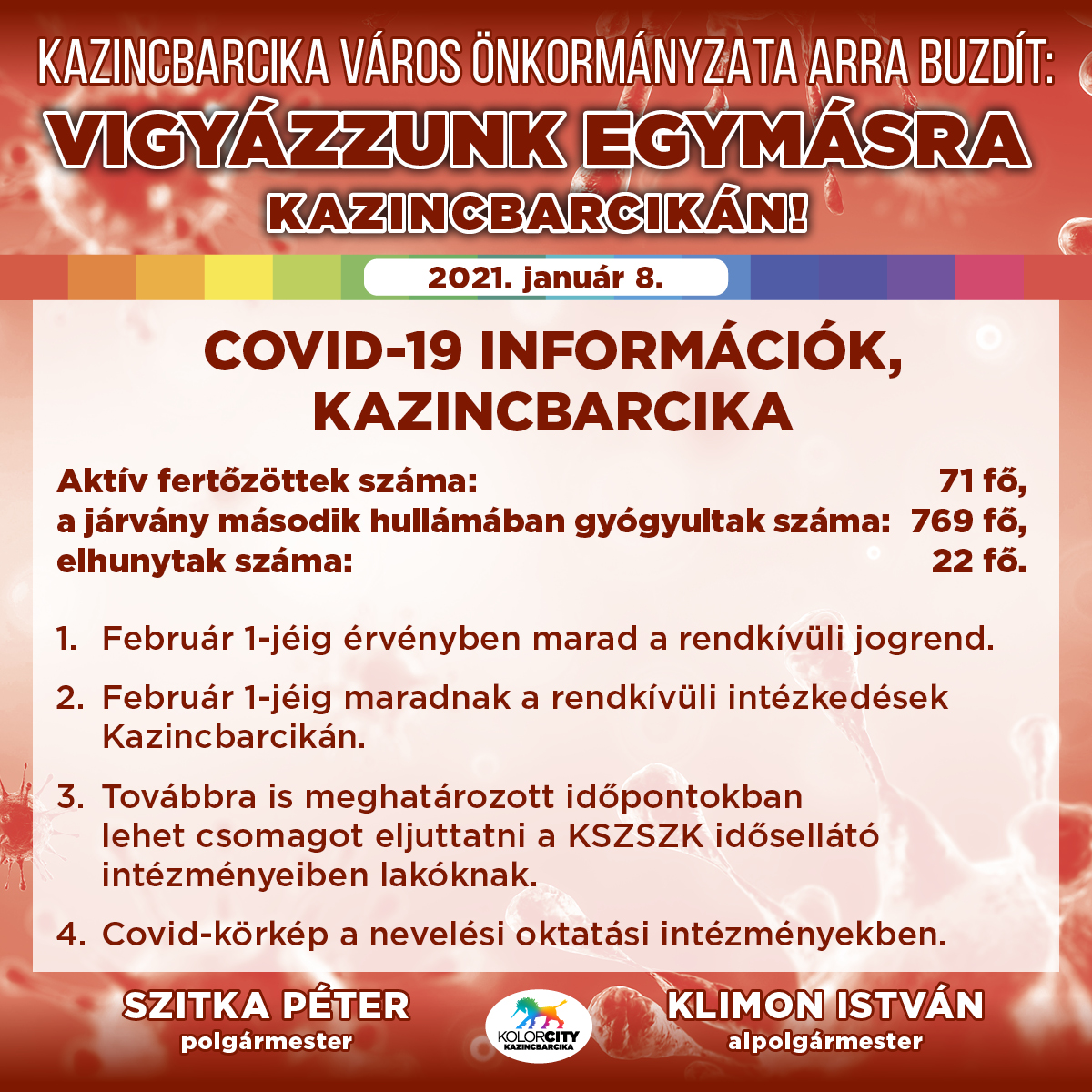 https://kolorline.hu/Vigyázzunk egymásra Kazincbarcikán! – 2021. január 8.