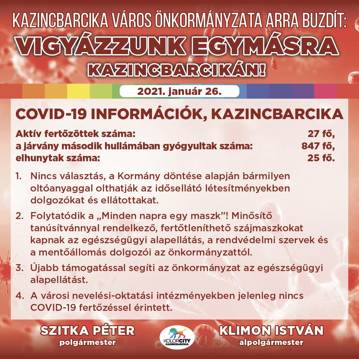 https://kolorline.hu/Vigyázzunk egymásra Kazincbarcikán! – 2021. január 26.