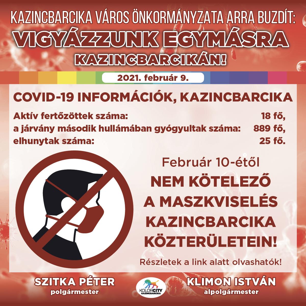 https://kolorline.hu/Február 10-étől nem kötelező a maszkviselés Kazincbarcika közterületein