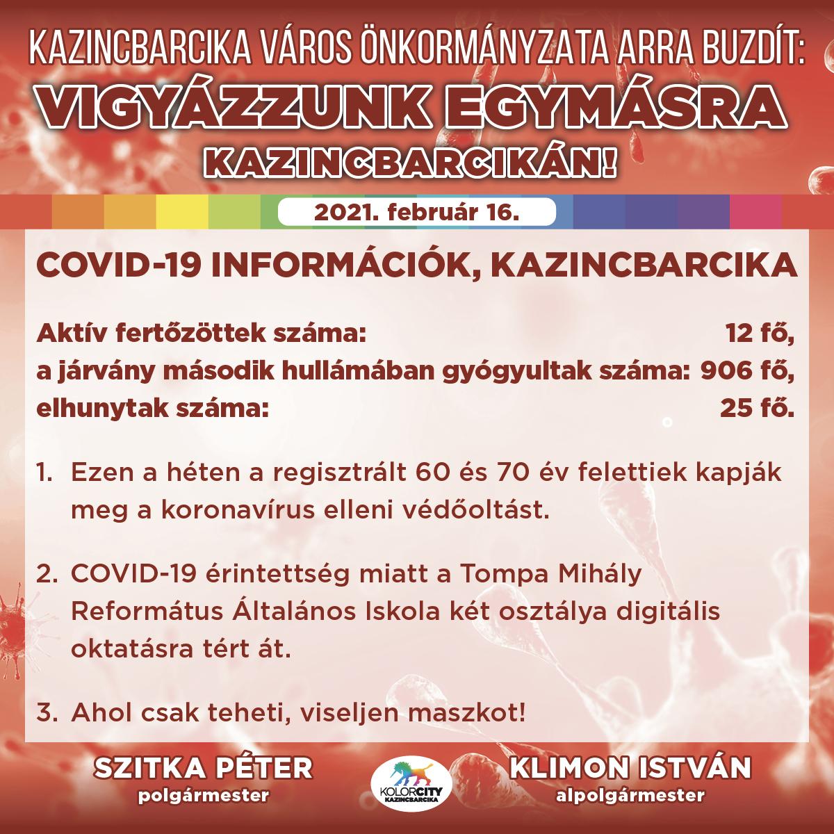 https://kolorline.hu/Vigyázzunk egymásra Kazincbarcikán! – 2021. február 16.