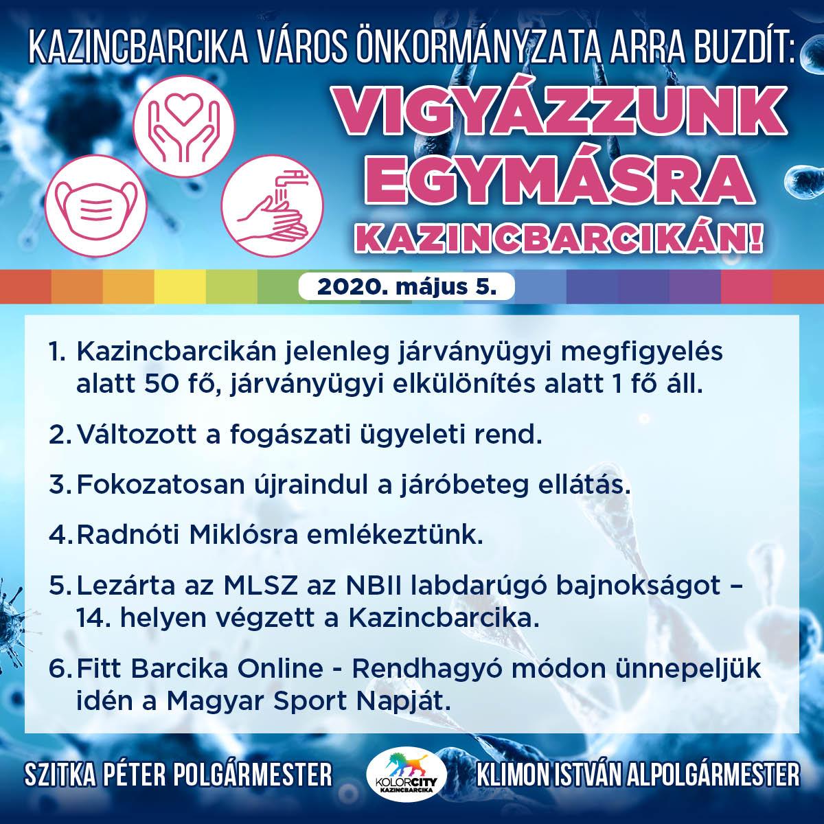 https://kolorline.hu/Vigyázzunk egymásra Kazincbarcikán! – 2020. május 5.