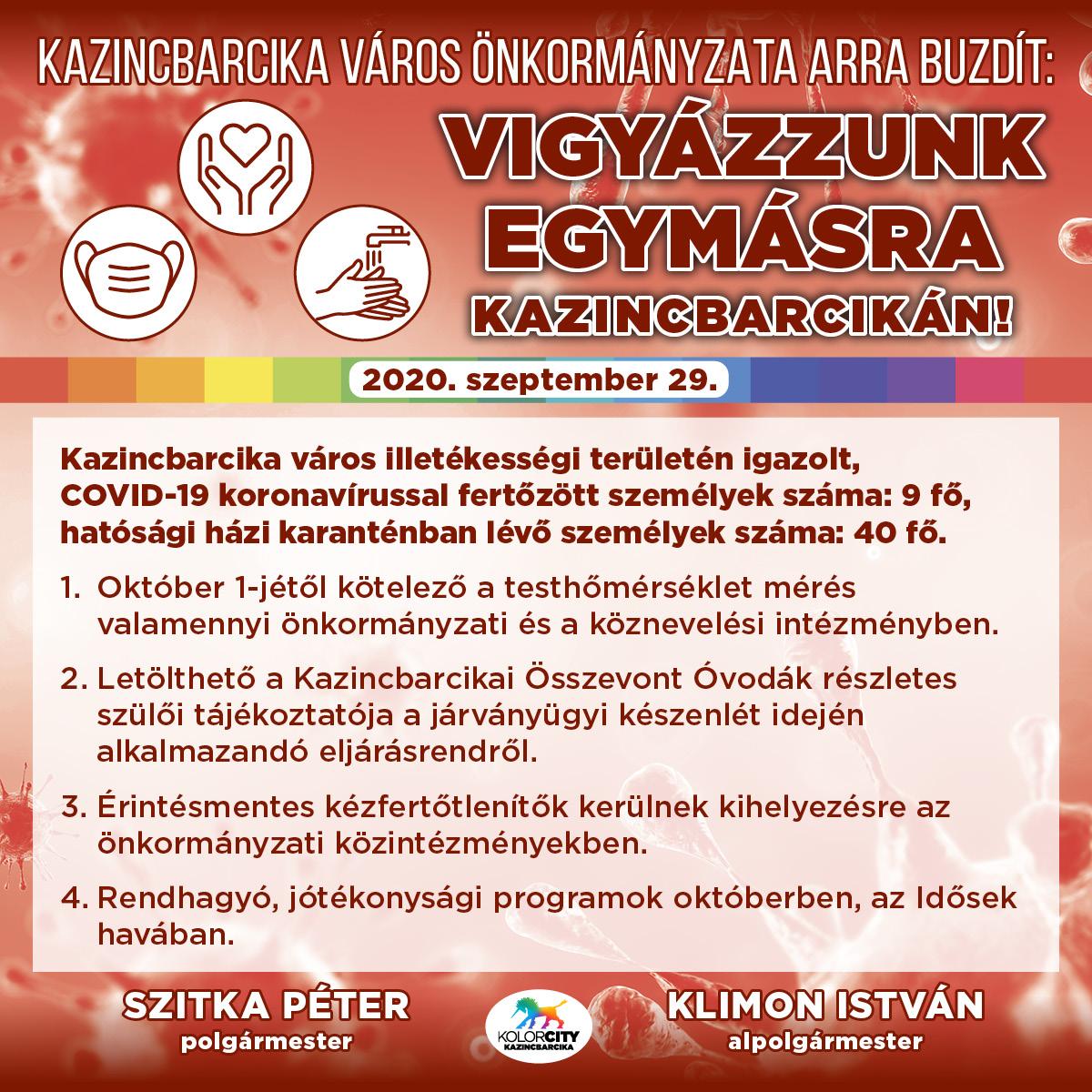 https://kolorline.hu/Vigyázzunk egymásra Kazincbarcikán! – 2020. szeptember 29.