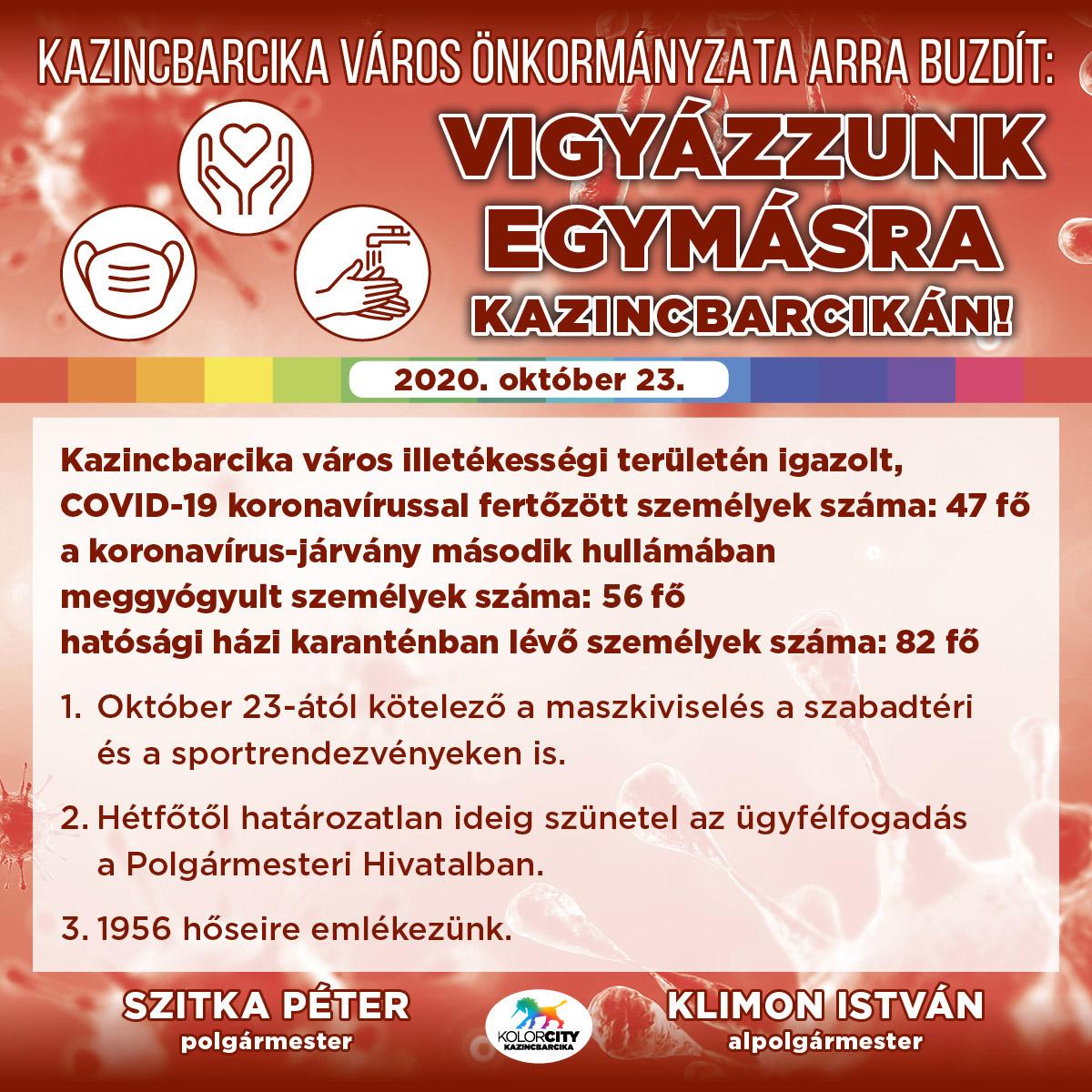 https://kolorline.hu/Vigyázzunk egymásra Kazincbarcikán! – 2020. október 23.