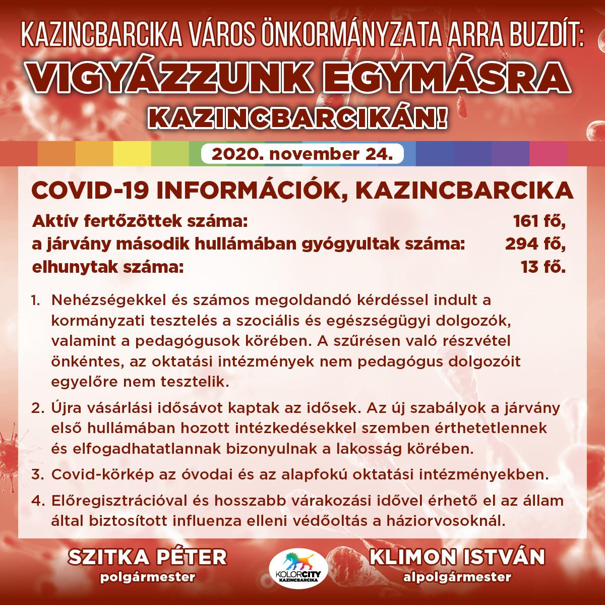 https://kolorline.hu/Vigyázzunk egymásra Kazincbarcikán! – 2020. november 24.