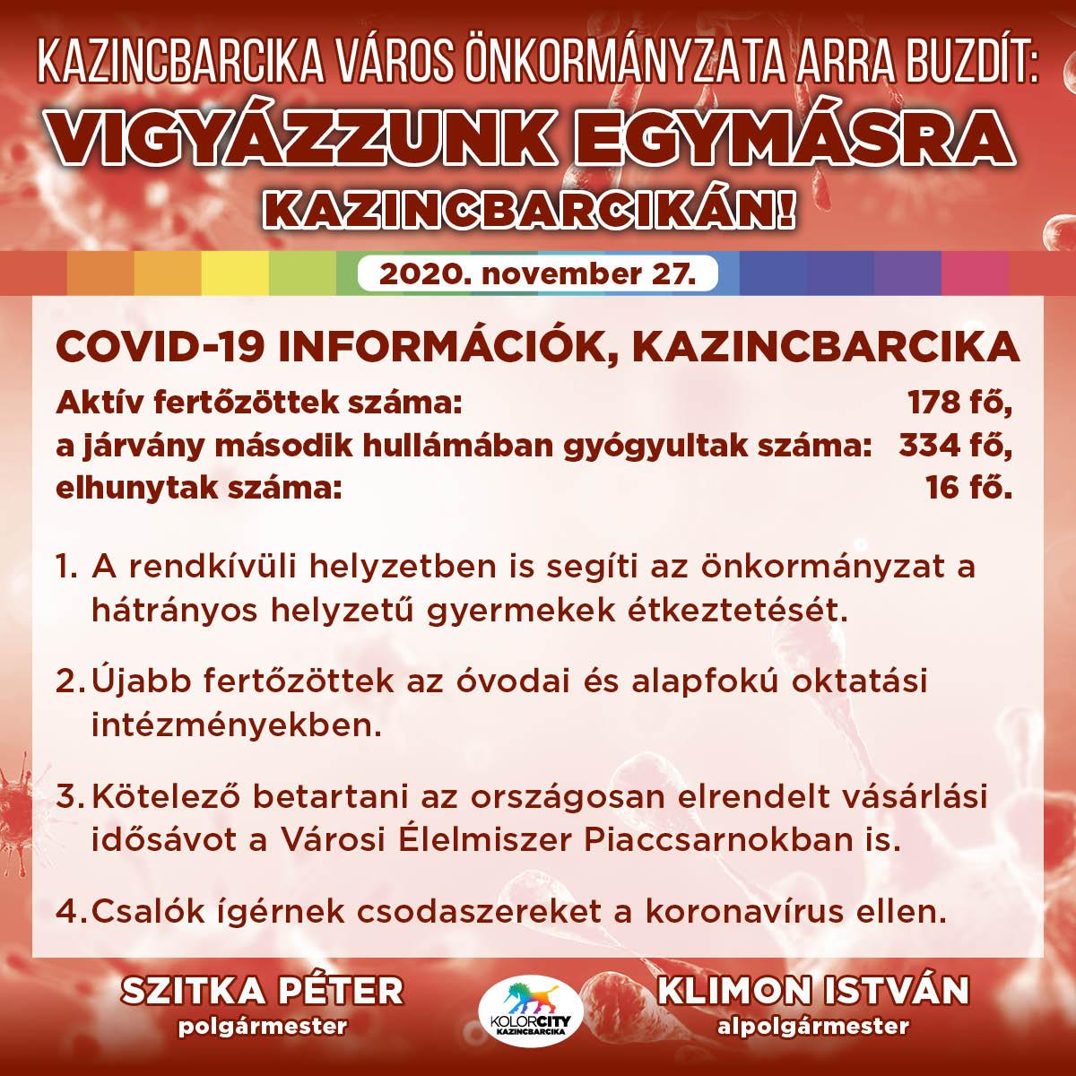 https://kolorline.hu/Vigyázzunk egymásra Kazincbarcikán! – 2020. november 27.