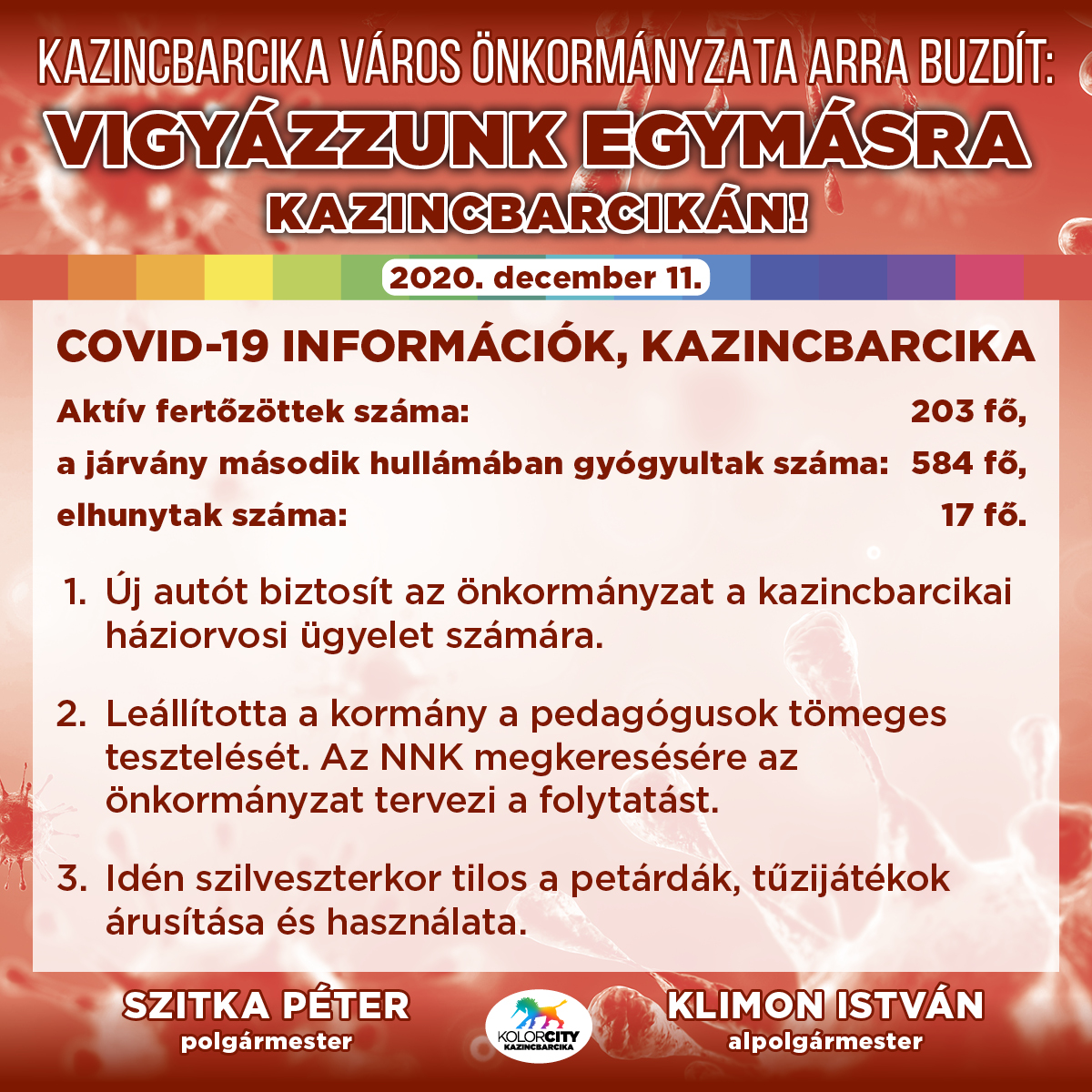 https://kolorline.hu/Vigyázzunk egymásra Kazincbarcikán! – 2020. december 11.