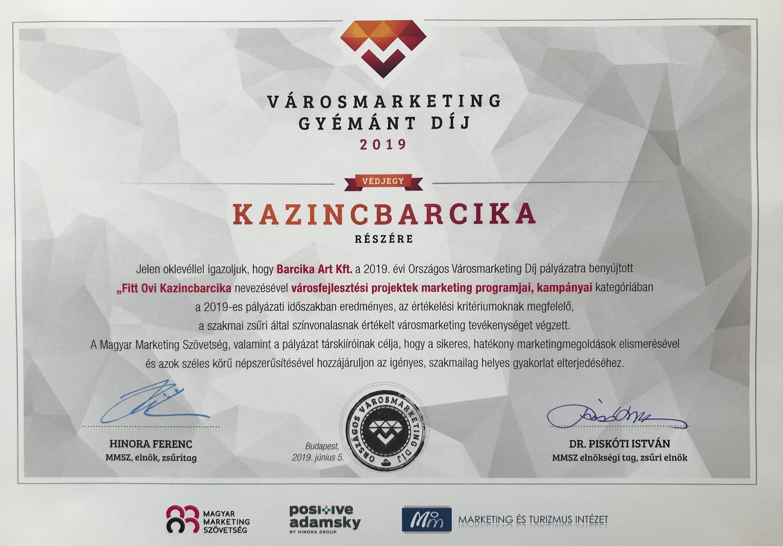 https://kolorline.hu/Városmarketing  gyémánt díjat nyert a Fitt Ovi