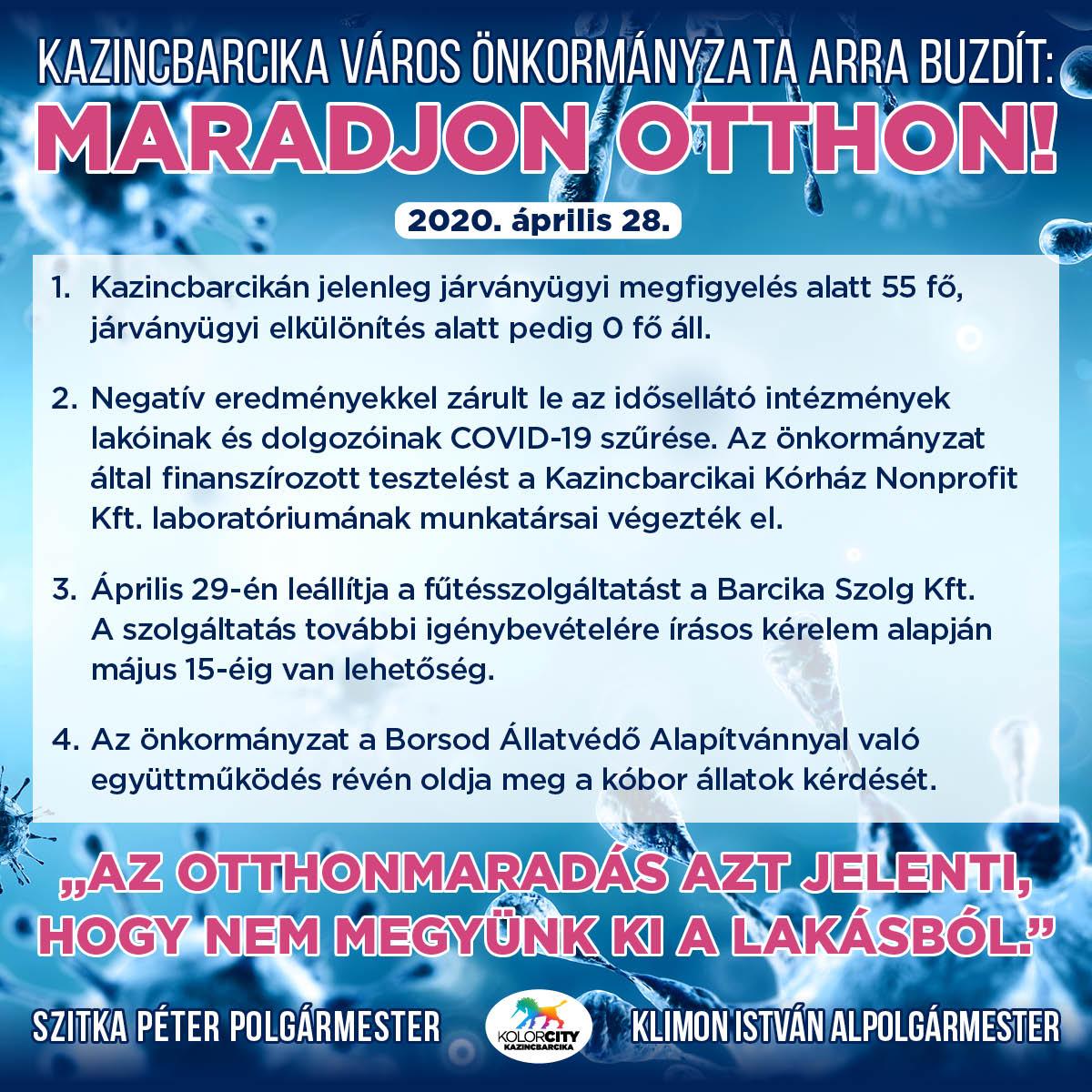 https://kolorline.hu/Kazincbarcika Város Önkormányzata arra buzdít: Maradj otthon! – 2020. április 28.