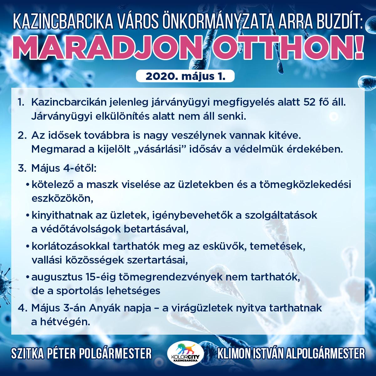 https://kolorline.hu/Kazincbarcika Város Önkormányzata arra buzdít: Maradj otthon! – 2020. május 1.