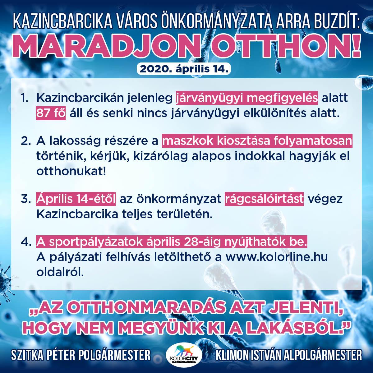 https://kolorline.hu/Kazincbarcika Város Önkormányzata arra buzdít: Maradj otthon! – 2020. április 14.