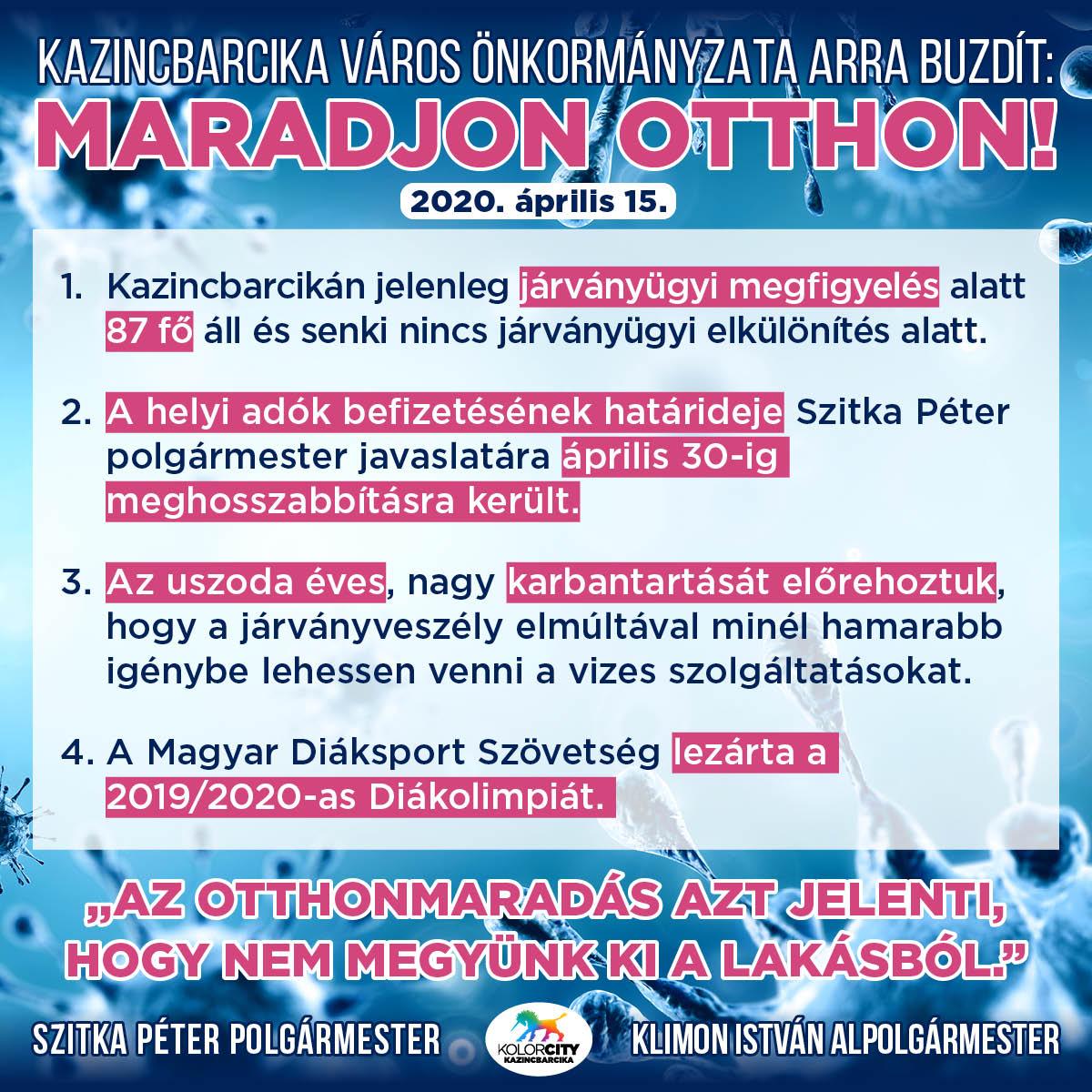 https://kolorline.hu/Kazincbarcika Város Önkormányzata arra buzdít: Maradj otthon! – 2020. április 15.