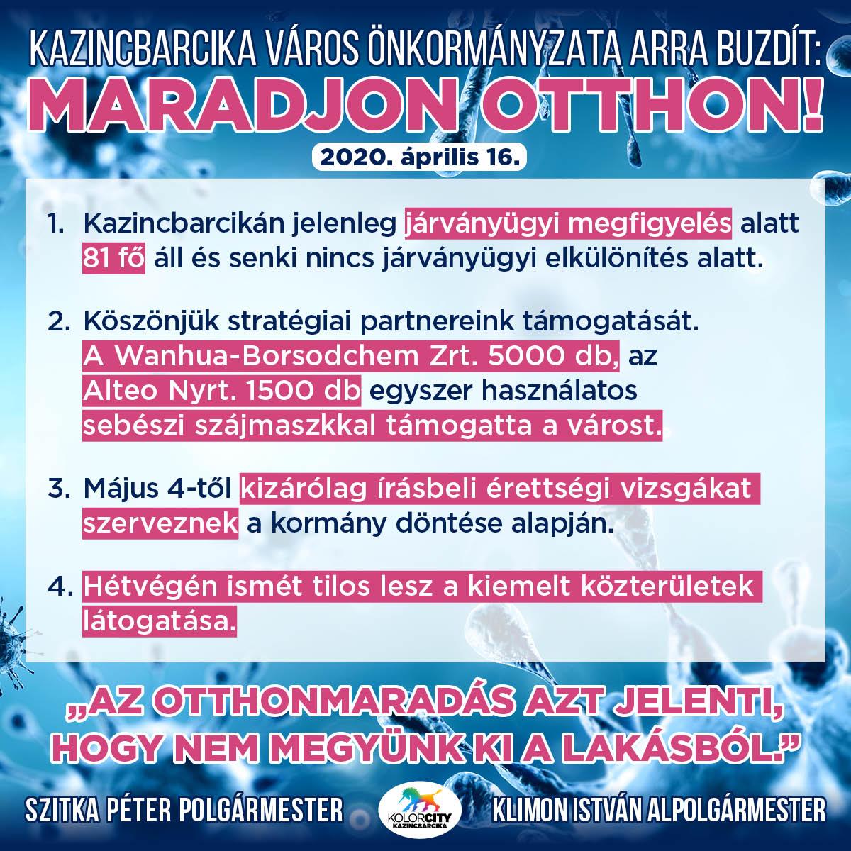 https://kolorline.hu/Kazincbarcika Város Önkormányzata arra buzdít: Maradj otthon! – 2020. április 16.
