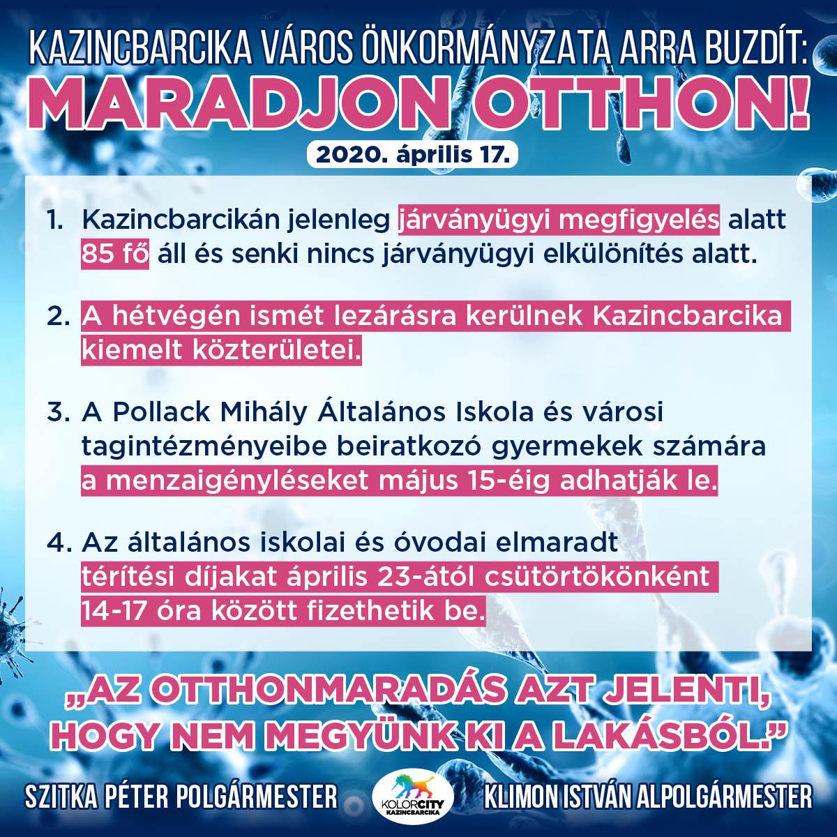 https://kolorline.hu/Kazincbarcika Város Önkormányzata arra buzdít: Maradj otthon! – 2020. április 17.