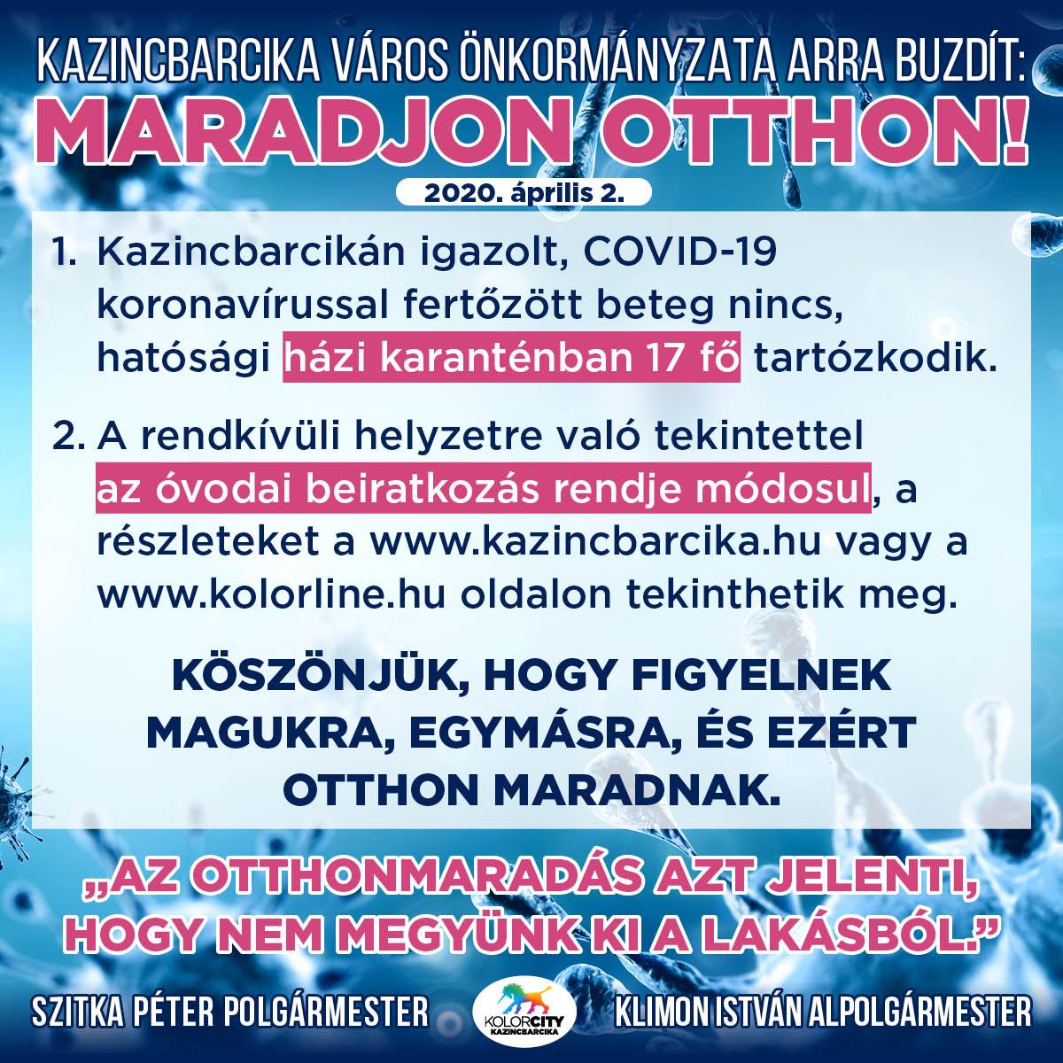 https://kolorline.hu/Kazincbarcika Város Önkormányzata arra buzdít: Maradj otthon! – 2020. április 2.