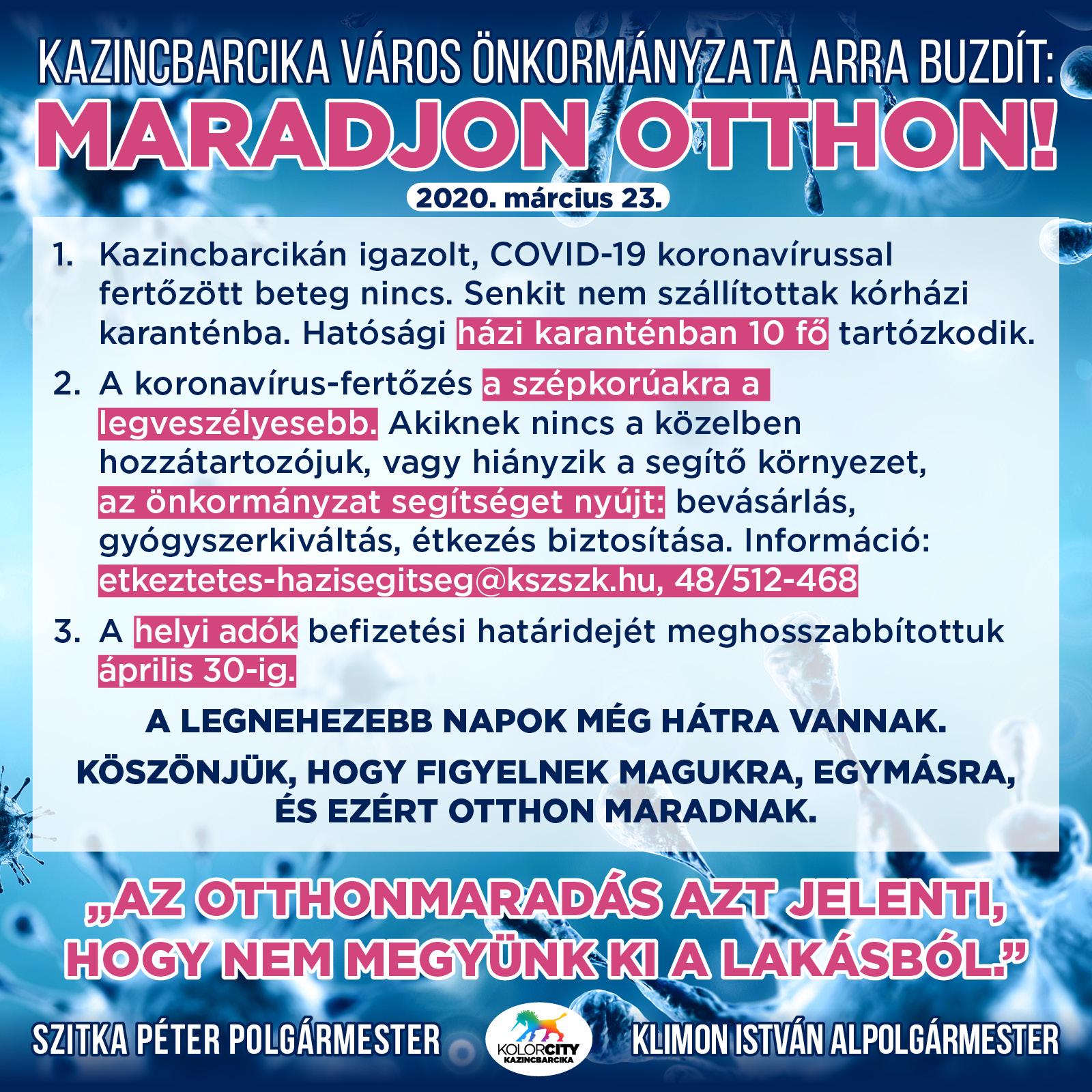 https://kolorline.hu/Kazincbarcika Város Önkormányzata arra buzdít: MARADJON OTTHON! 2020. március 23.