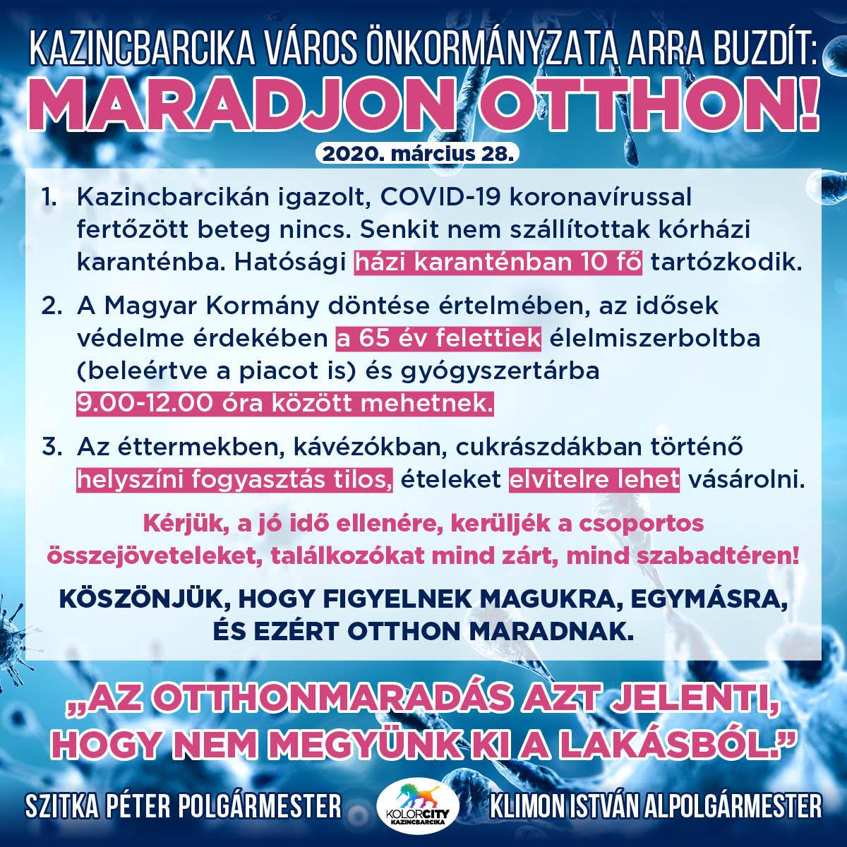 https://kolorline.hu/Kazincbarcika Város Önkormányzata arra buzdít: Maradj otthon! – 2020. március 28.